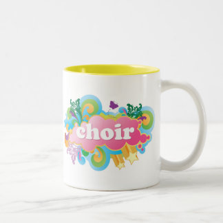 Colorful Retro Choir Design Gift Two-Tone Coffee Mug