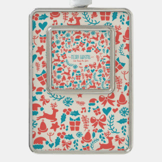 Colorful retro Christmas pattern in blue and red Silver Plated Framed Ornament