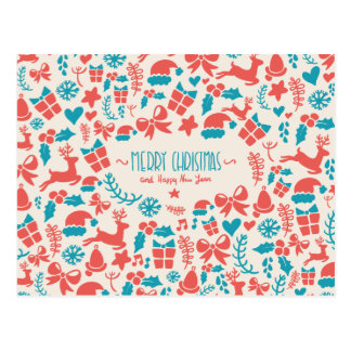 Colorful retro Christmas pattern in blue and red Postcard