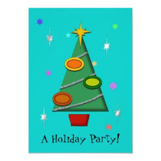 Colorful Retro Christmas Tree Invitation