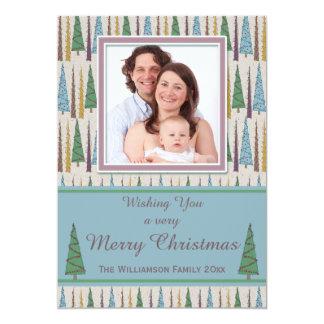 Colorful Retro Christmas Trees Photo Card