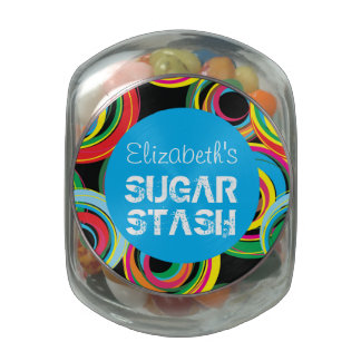 Colorful Retro Circle Design | Sugar Stash Jar Jelly Belly Candy Jar