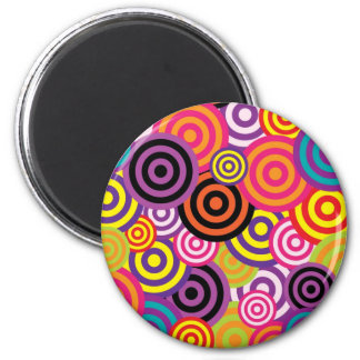Colorful retro circles 2 inch round magnet