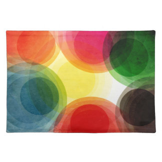 Colorful Retro Circles Cloth Placemat