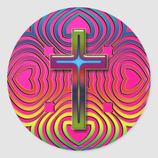 COLORFUL RETRO CROSS CLASSIC ROUND STICKER
