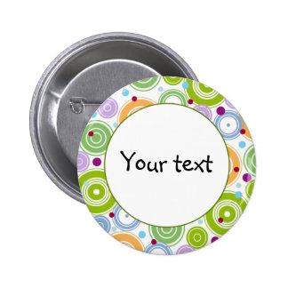 Colorful retro design 2 inch round button