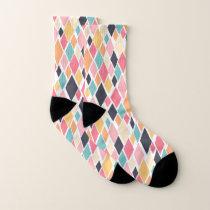 Colorful Retro Diamond Pattern Socks