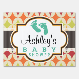 Colorful Retro Diamonds Pattern Baby Shower Sign