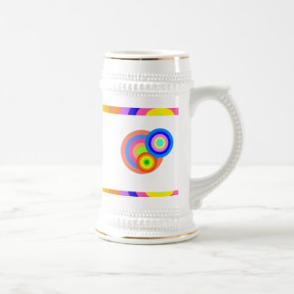 Colorful retro dots & Waves 18 Oz Beer Stein