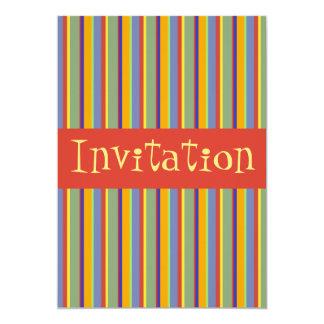 """Colorful Retro Early 1960s Stripes - Invitation 5"""" X 7"""" Invitation Card"""