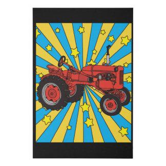 Colorful Retro Excavator Tractor Faux Canvas Print