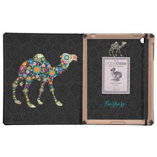 Colorful Retro Floral Camel & Black Background iPad Folio Cases