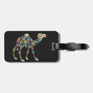 Colorful Retro Floral Camel & Black Damasks Bag Tag