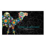 Colorful Retro Floral Camel & Black Damasks Business Card