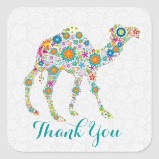 Colorful Retro Floral Camel Thank You Square Sticker