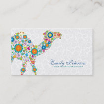 Colorful Retro Floral Camel & White Damasks Business Card