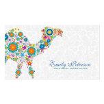 Colorful Retro Floral Camel & White Damasks Business Card Templates