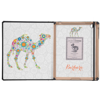 Colorful Retro Floral Camel & White Damasks iPad Cover