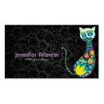 Colorful Retro Floral Cat & Black Damasks Business Cards