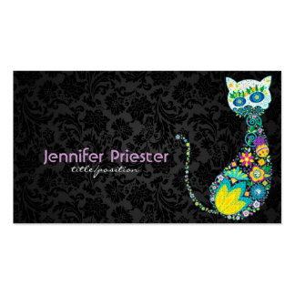 Colorful Retro Floral Cat & Black Damasks Double-Sided Standard Business Cards (Pack Of 100)