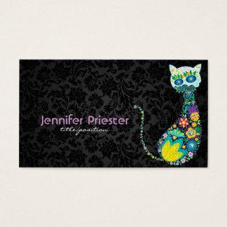 Colorful Retro Floral Cat & Black Damasks Business Card