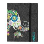 Colorful Retro Floral Cute Elephant iPad Covers