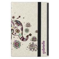Colorful Retro Floral & Elephant Beige Back Cover For iPad Mini