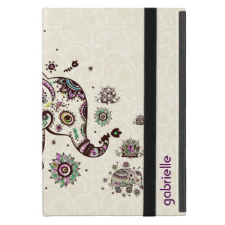 Colorful Retro Floral & Elephant Beige Back Cover For iPad Mini