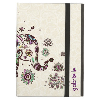 Colorful Retro Floral & Elephant Beige Back Cover For iPad Air