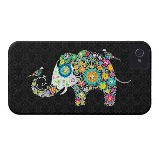 Colorful Retro Floral Elephant & Birds Case-Mate iPhone 4 Cases