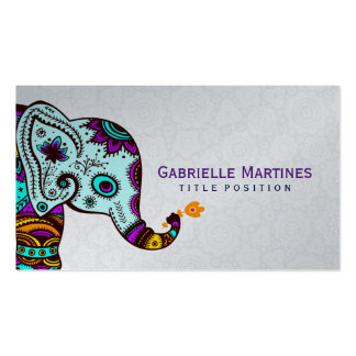 Colorful Retro Floral Elephant & Black Background Double-Sided Standard Business Cards (Pack Of 100)