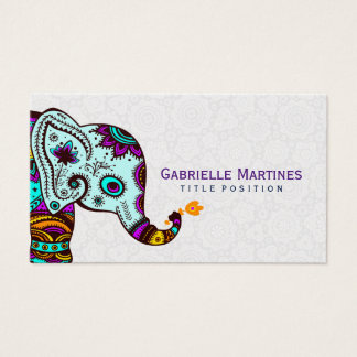 Colorful Retro Floral Elephant & Black Background Business Card