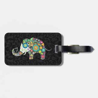 Colorful Retro Floral Elephant & Black Damasks 2 Bag Tag