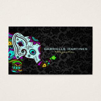 Colorful Retro Floral Elephant & Black Damasks 2 Business Card
