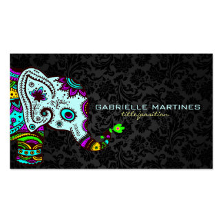 Colorful Retro Floral Elephant & Black Damasks 2 Double-Sided Standard Business Cards (Pack Of 100)
