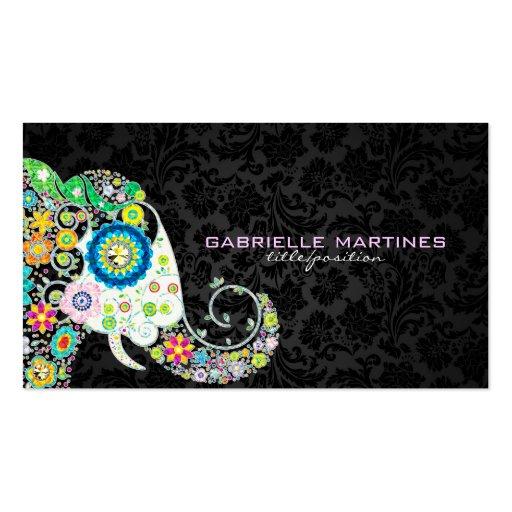 Colorful Retro Floral Elephant & Black Damasks Business Card