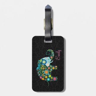 Colorful Retro Floral Elephant Black Damasks Luggage Tag