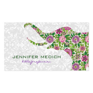 Colorful Retro Floral Elephant Business Card