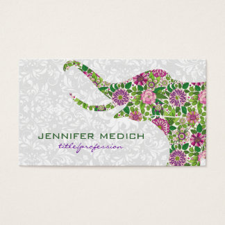 Colorful Retro Floral Elephant Business Card