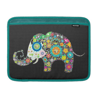 Colorful Retro Floral Elephant Design MacBook Sleeve