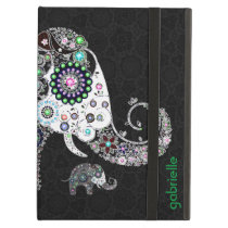 Colorful Retro Floral Elephant & Diamonds 2 Cover For iPad Air
