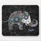 Colorful Retro Floral Elephant & Diamonds 2 Mouse Pad