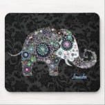 "Colorful Retro Floral Elephant &amp; Diamonds 2 Mouse Pad<br><div class=""desc"">Colorful flowers arranged in shape of an elephant with diamond studs. Not real diamonds just an image. Black floral damasks pattern. One of 4 variations on this elephant design.</div>"