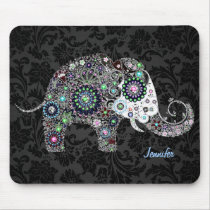 Colorful Retro Floral Elephant & Diamonds 2 Mouse Pad