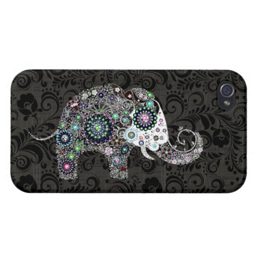 Colorful Retro Floral Elephant Elephant 2 iPhone 4/4S Case