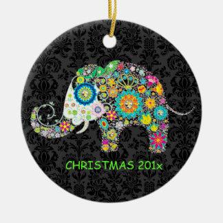 Colorful Retro Floral Elephant Illustration Ceramic Ornament