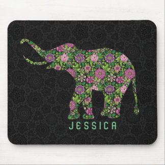 Colorful Retro Floral Elephant  Monogramed Mouse Pad