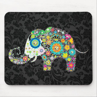Colorful Retro Floral Elephant Mouse Pad