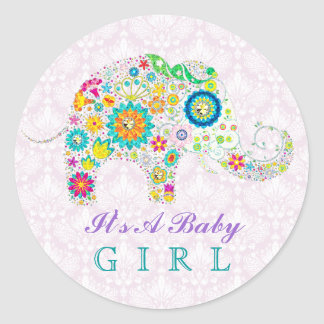 Colorful Retro Floral Elephant New Baby Girl Classic Round Sticker