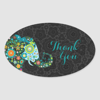 Colorful Retro Floral Elephant Thank You 2 Oval Sticker